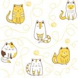 与猫和羊毛球的无缝的样式 向量例证
