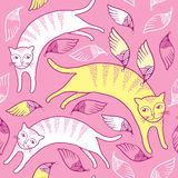 与猫和翼的无缝的样式 免版税库存照片