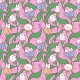 与猫和花的逗人喜爱的无缝的样式 孩子的墙纸 画睡衣和亚麻布的 库存例证