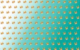 与猫微笑的桔子的逗人喜爱的面孔的白色和绿色背景 免版税库存图片
