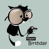 与猫微笑的生日快乐老鼠 库存图片