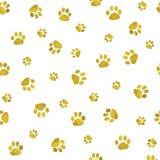 与猫爪子印刷品的无缝的背景 免版税库存照片