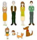 与猫狗的三个一代家庭在颜色 免版税库存照片