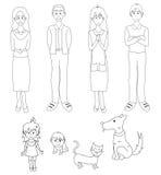 与猫狗的三个一代家庭 免版税库存图片