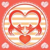 与猫的卡片在情人节 免版税库存照片