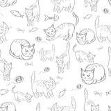 与猫的图象的例证,鱼和缠结穿线 黑色模式白色 向量 库存图片
