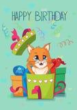 与猫的生日贺卡 免版税库存照片