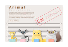 与猫的逗人喜爱的动物家庭背景 库存例证