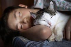 与猫的青少年的男孩睡眠在床拥抱 库存照片