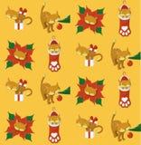 与猫的黄色圣诞节样式 皇族释放例证