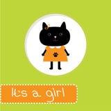 与猫的婴儿送礼会卡片。它女孩 库存图片