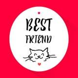 与猫的头的贴纸和字法发短信给最好的朋友 Vecto 图库摄影