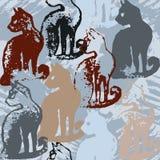 与猫邮票的无缝的样式 库存图片