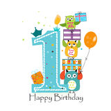 与猫头鹰和礼物盒的愉快的第一个生日 男婴生日贺卡传染媒介例证 免版税库存图片