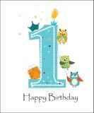 与猫头鹰男婴贺卡传染媒介的愉快的第一个生日 免版税图库摄影