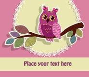 与猫头鹰的美丽的贺卡 免版税库存图片