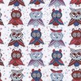 与猫头鹰蓝色红色灰色褐色的无缝的背景 库存照片