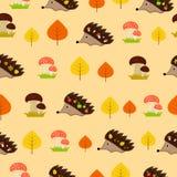 与猬和叶子的秋天无缝的纹理 免版税库存照片