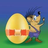 猬和复活节彩蛋 免版税图库摄影