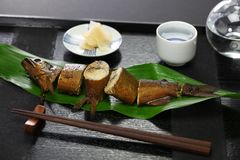 与獐鹿的Ayu在酱油和糖,日本开胃菜煨了为了缘故 免版税库存照片