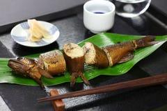 与獐鹿的Ayu在酱油和糖,日本开胃菜煨了为了缘故 库存照片
