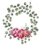 与玉树分支和牡丹的水彩花圈 与银元圆的叶子的手画花卉例证  免版税库存图片