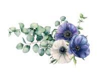 与玉树和银莲花属的水彩不对称的花束 手画蓝色和白花,玉树叶子和 向量例证