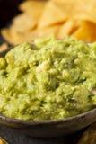 与玉米片的绿色自创鳄梨调味酱捣碎的鳄梨酱 免版税图库摄影