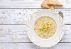 与玉米fleur的传统尼日利亚混杂的蔬菜汤 免版税图库摄影