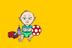 与玩具和乳瓶的男婴色的讽刺画 库存照片