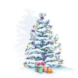 与玩具和礼物的圣诞树 免版税库存图片