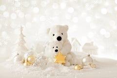 与玩具熊的圣诞节背景 图库摄影