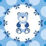 与玩具熊的浅蓝色横幅 免版税库存照片