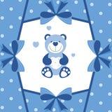 与玩具熊的浅蓝色横幅 免版税图库摄影