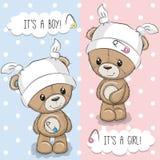 与玩具熊的贺卡 免版税库存照片