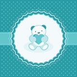 与玩具熊的贺卡男婴的。 免版税库存图片