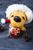 与玩具狗的圣诞节装饰 库存照片