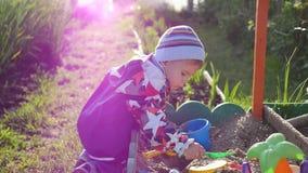 与玩具的儿童游戏在沙盒 蝴蝶日草夏天晴朗的swallowtail 户外乐趣和比赛 免版税库存照片