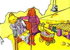 与玩具的婴孩戏剧 图库摄影