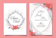 与玫瑰、狂放的叶子、几何框架和闪闪发光作用的花卉婚姻的请帖卡集 库存例证