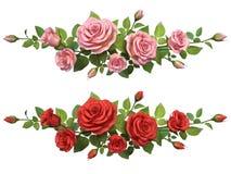 与玫瑰分支的Horisontal边界 图库摄影