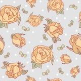 与玫瑰和弓的无缝的样式 免版税图库摄影