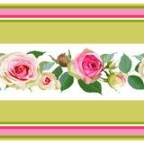 与玫瑰和条纹的无缝的样式 皇族释放例证