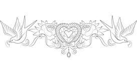 与玫瑰和燕子的水晶心脏 向量例证