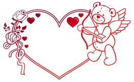 与玫瑰和玩具熊的梯度标签看起来象丘比特 光栅剪贴美术 库存照片