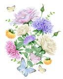 与玫瑰和翠菊的水彩百花香 免版税库存图片