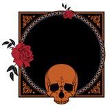 与玫瑰和头骨的框架 图库摄影