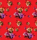 与玫瑰抽象花的无缝的样式在红色 免版税库存图片