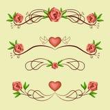 与玫瑰的书法浪漫分切器 免版税库存图片