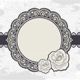 与玫瑰的典雅的葡萄酒鞋带框架 库存图片